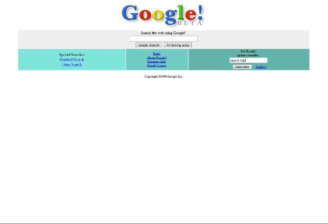 Google в 1998 году