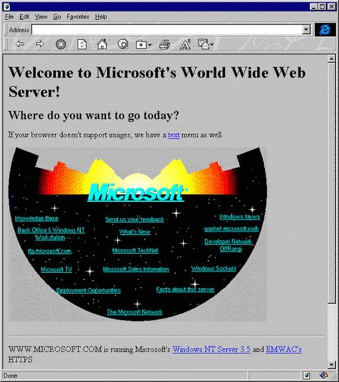 Первая версия сайта Microsoft