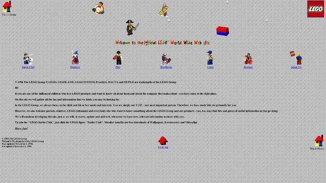 Сайт LEGO в 1996 году