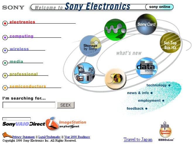 Сайт Sony в 1998 году