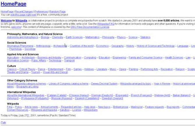 Википедия в 2001 году