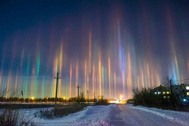 Световые столбы в России