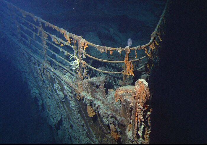Передняя часть разрушенного Титаника.