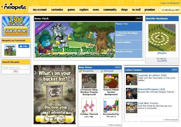 Neopets - это сайт виртуальных домашних животных