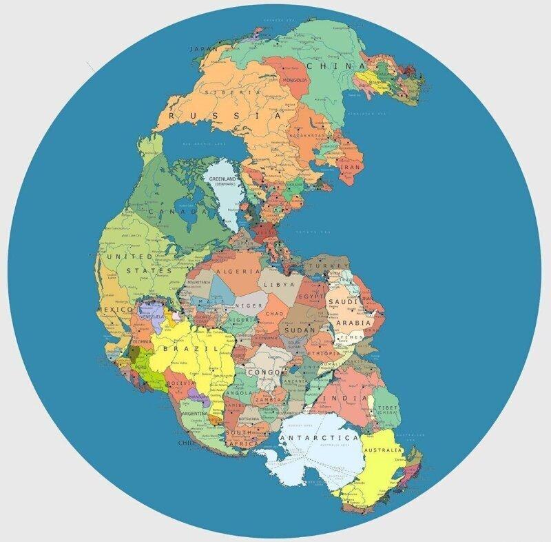 Карта древнего сверхконтинента Пангеи