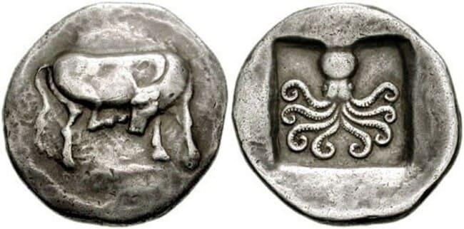 500-летняя греческая серебряная монета