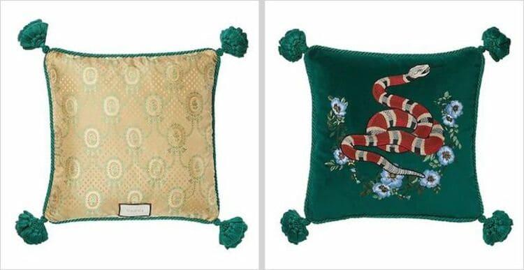 Бархатная подушка с вышивкой от Gucci,