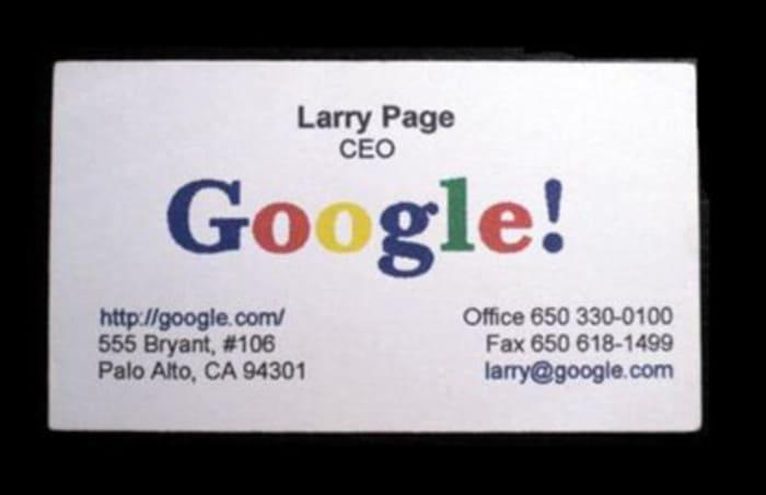 Визитная карточка Ларри Пейджа