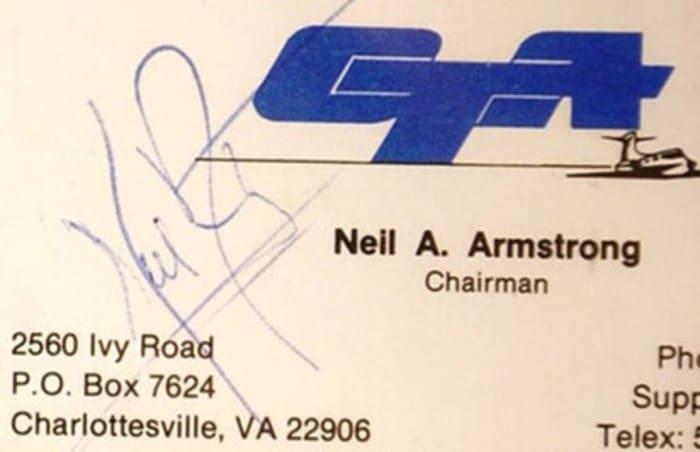 Визитная карточка Нила Армстронга