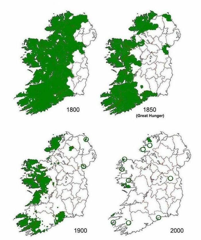 Распространение ирландского языка на территории Ирландии