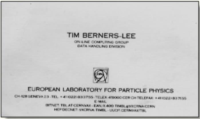 Визитная карточка Тима Бернерса, создатель Всемирной паутины