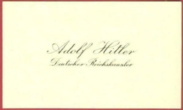 Визитная карточка Адольфа Гитлера