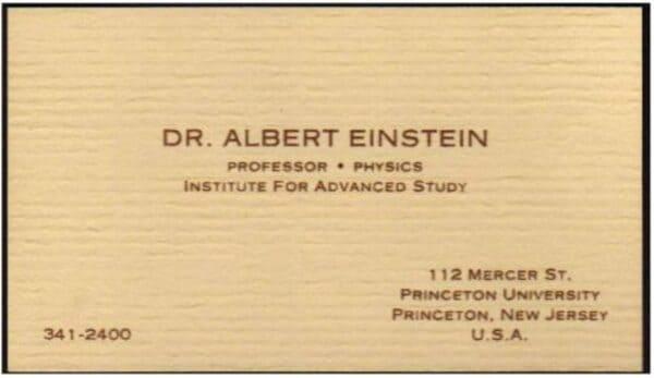 Визитная карточка Альберта Эйнштейна