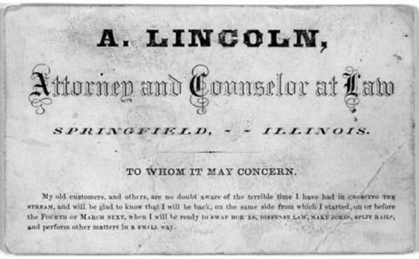 Визитная карточка Авраама Линкольна