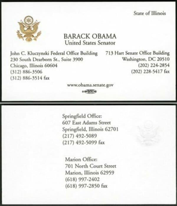 Визитная карточка Барака Обамы