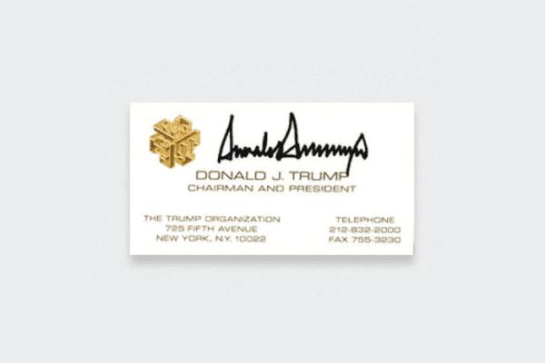 Визитная карточка Дональда Трампа
