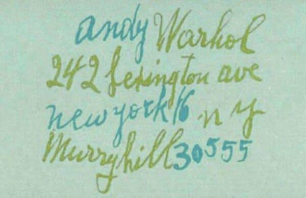 Визитная карточка Энди Уорхола
