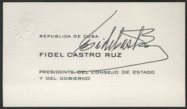 Визитная карточка Фиделя Кастро