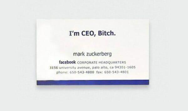 Визитная карточка Марка Цукерберга