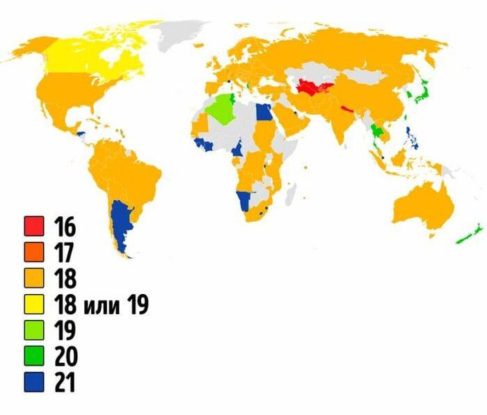 Возраст совершеннолетия в разных странах