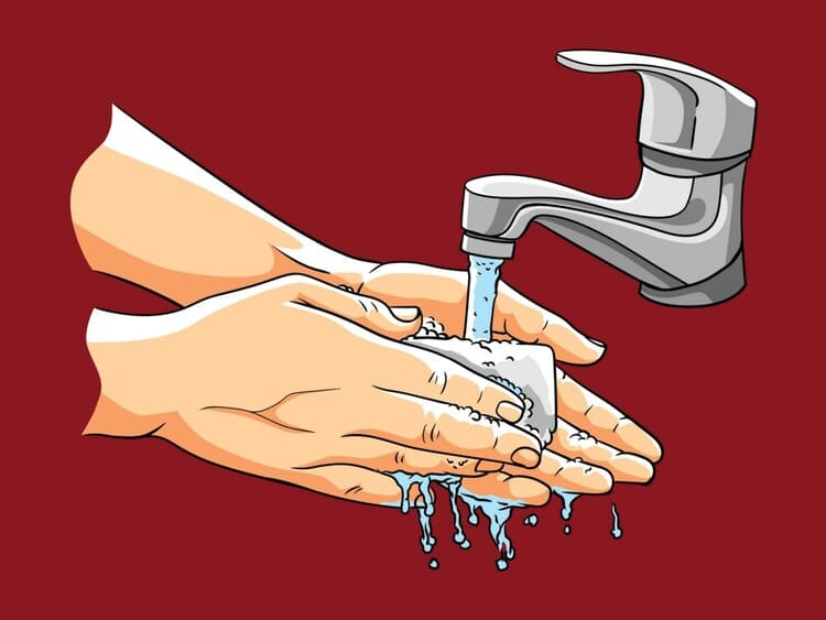 Мытье рук с мылом убивает бактерии