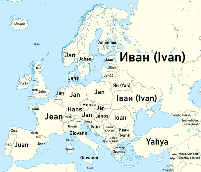 Варианты имени Джон в Европе