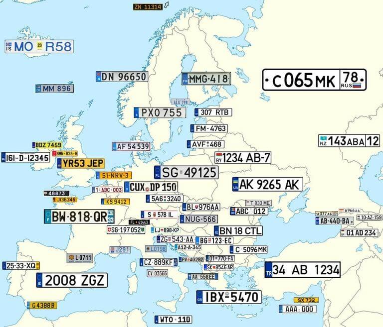 регистрационные номерные знаки в разных странах