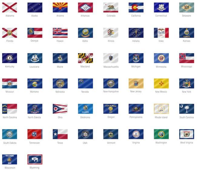 50 штатов США и их флаги