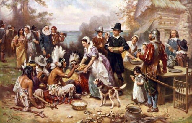 Первый День Благодарения в Америке 1621 - картина маслом Жана Луи Жерома Ферриса (1932)
