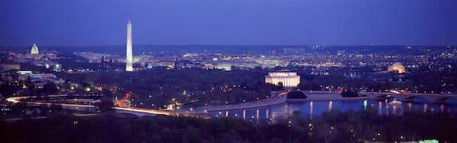 Вашингтон, округ Колумбия, со зданием Капитолия, Мемориалом Джефферсона и Мемориалом Линкольна