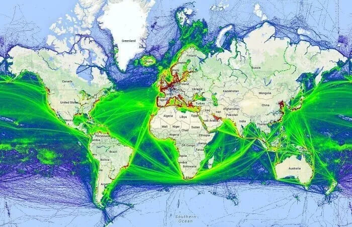 Карта мировых морских маршрутов