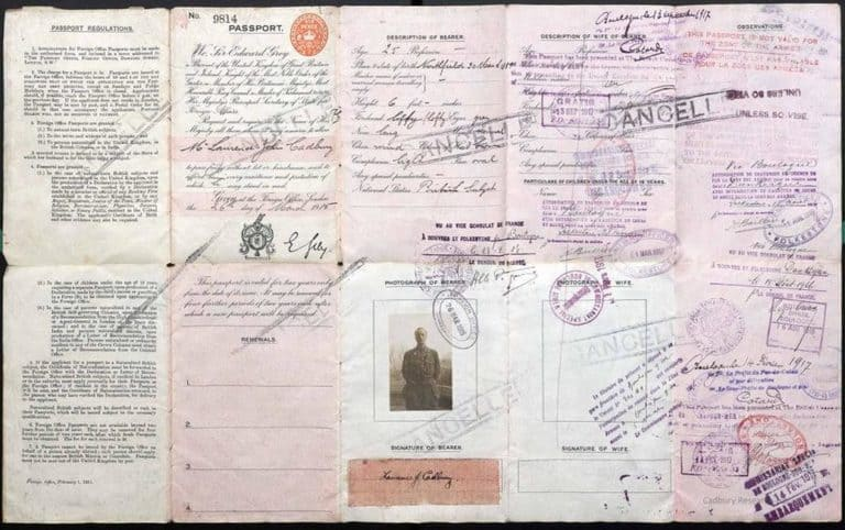 Паспорт Лоренса Кэдбери, 1915 год