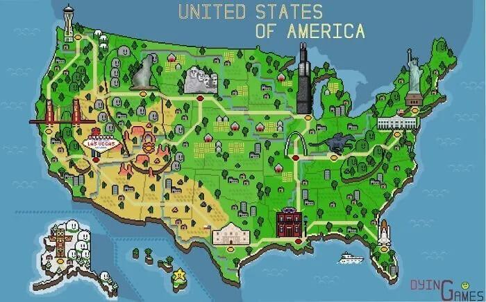 Пиксельная ретро-карта США
