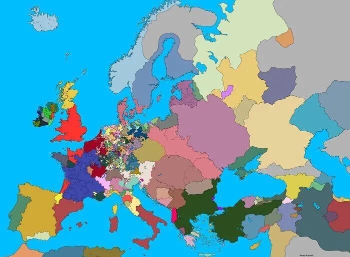 Политическая карта Европы в 1444 году