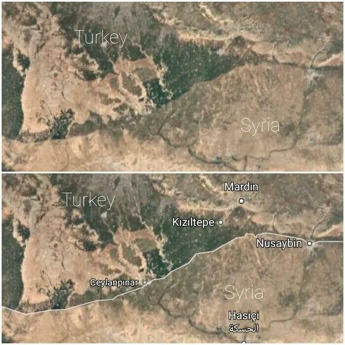 Разница между территориями Турции и Сирии
