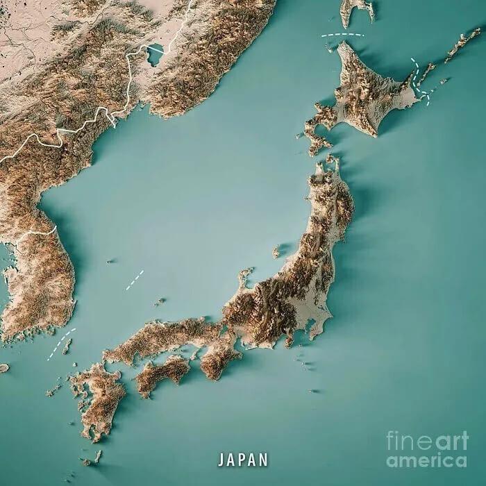 Топографическая карта Японии