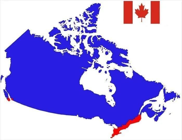 В красной части Канады живет больше людей