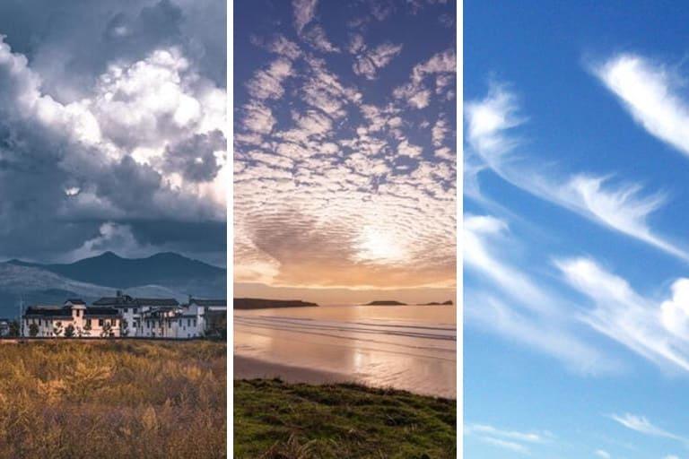 кучевые, слоистые и перистые облака
