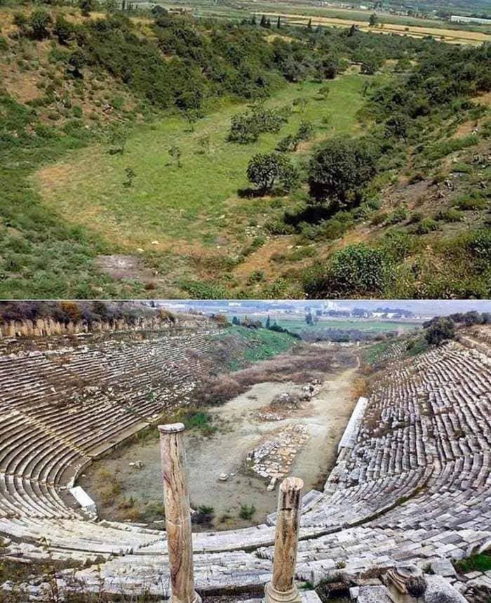 До и после раскопок древнегреческого стадиона