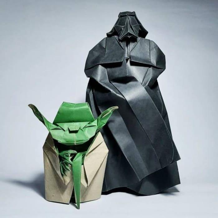 Оригами в виде Мастера Йоды и Дарта Вейдера