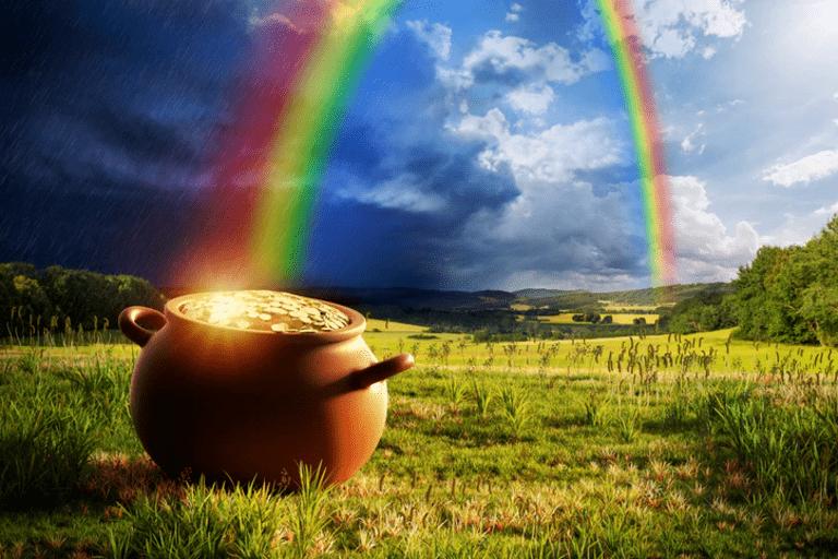 горшок с драгоценным металлом на конце радуги