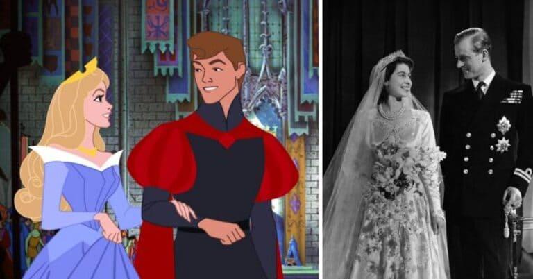 Аврора и принц Филипп в фильме «Спящая красавица» и королева Елизавета II и принц Филипп в день их свадьбы