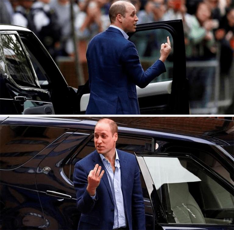 Принц Уильям показывает «средний палец»