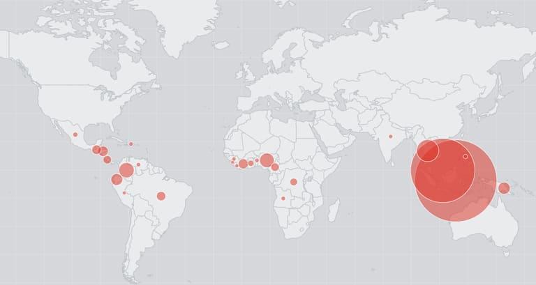 Регионы, в которых производят пальмовое масло
