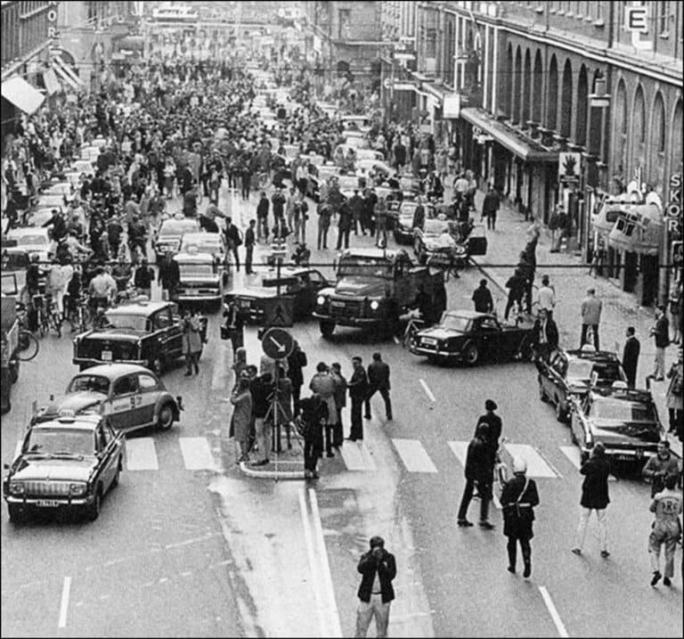 день перехода Швеции с левостороннего на правостороннее автомобильное движение