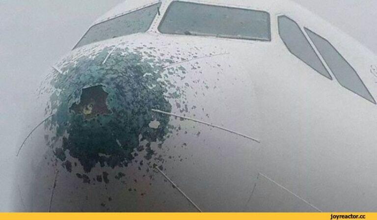 молния бьет в нос самолета